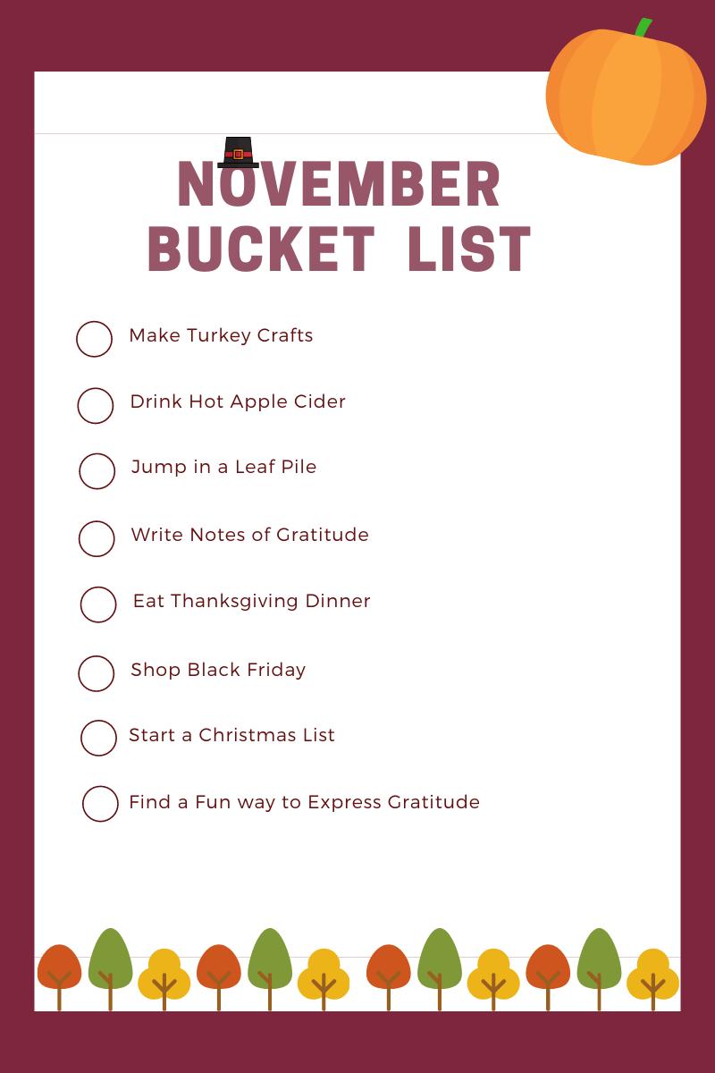 November Bucket List printable