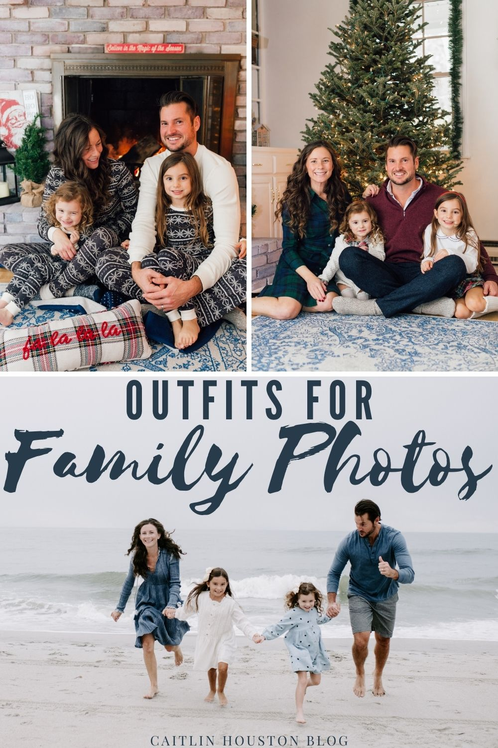 What to Wear for Family Photos for the Holidays - pajamas, formal, beach clothes